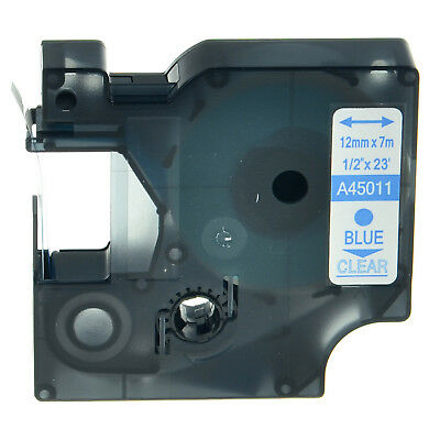 """1PK 45011 Blue on Clear Label Tape Cassette For Dymo D1 Labelmanager 400 1/2"""""""