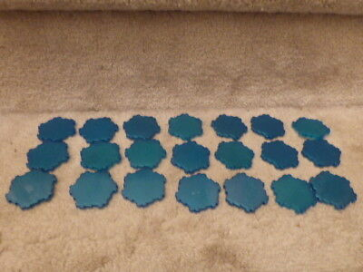 Lot of 21 Sparkling Pearlized Blue Water 1-Hex Tiles Heroscape Terrain