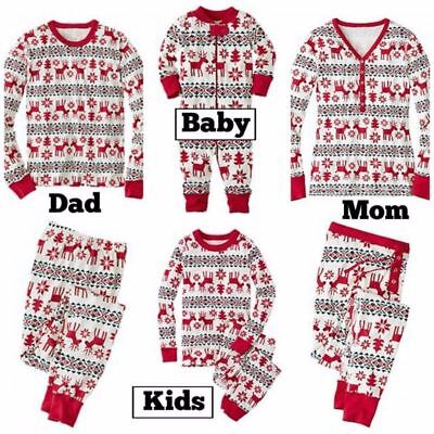 Family Matching Christmas Pajamas PJs Set Xmas Sleepwear Nightwear Kids Adult