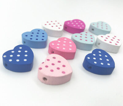 Wooden Beads dot Heart-shape DIY decoration crafts Jewelry Accessories 17mm