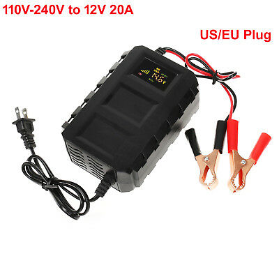Automatic Car Battery Charger 110V/220V To 12V 20A Dry Lead Acid LCD Motorcycle