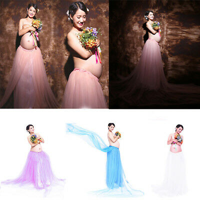 Pregnant Women Tulle Tutu Skirt Long Maxi Dress Gown Maternity Photography Props
