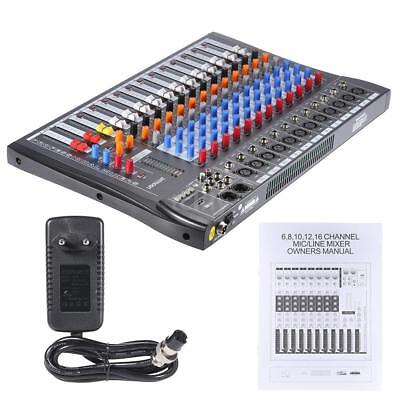 ammoon 12 Kanäle Mic Line Audio Mixer Mixing Konsole USB 48V Phantom Power Y0T2