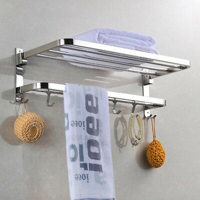 304 Stainless Steel Double Towel Rail Rack Shelf Wall Mounted Bathroom w/ 4 Hook