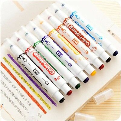 1/6Pcs Colourful Double Head Stamp Highlighter Fluorescent Pen Markers Drawing#