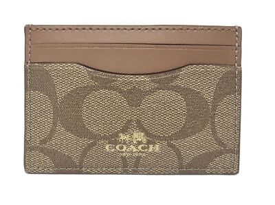 NWT Coach Credit Card Case Holder Signature PVC F63279 Khaki/Saddle $65