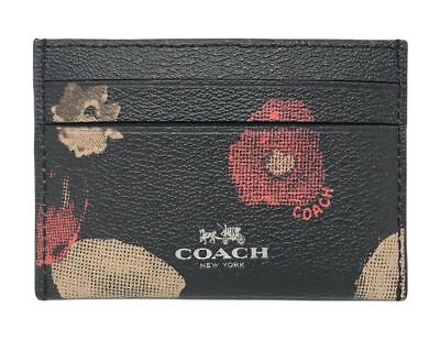 NWT Coach F56000 Card Case Printed Coated Canvas Halftone Floral $65