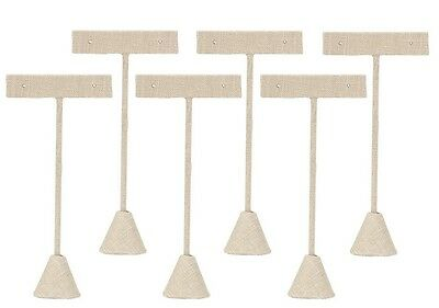 """6 Linen Earring T Stand Displays 5 3/4""""H"""