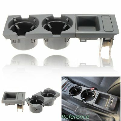 Grey Front Car Center Console Storage Box Coin + Cup Holader For Bmw E46 3Series