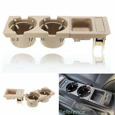 Beige Front Car Center Console Storage Box Coin + Cup Holder For Bmw E46 3Series