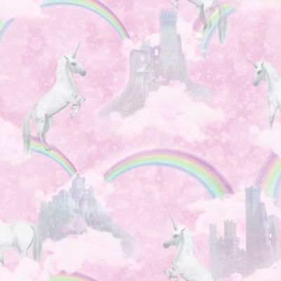 Holden Decor Unicorns Rainbow Wallpaper Sparkle Glitter KIds Pink Wallpaper
