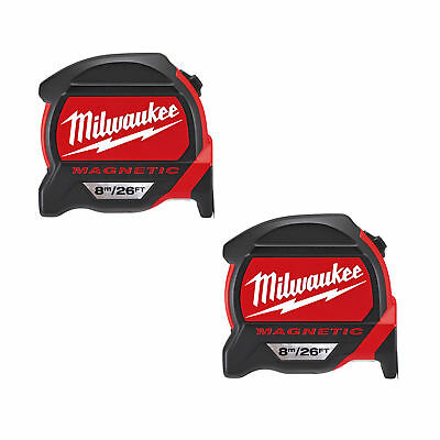MILWAUKEE 48227225 GEN2 Magnetic Tape Measure 8m/26ft Twinpack