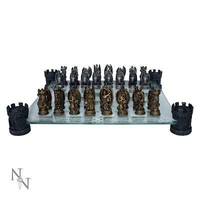 Kingdom Of Dragon  Gothic Chess Set With Glass Board By Nemesis Now