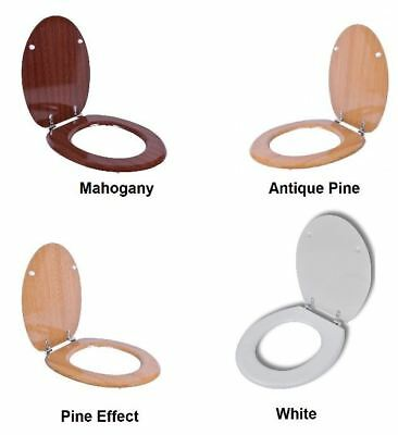 New Heavy Duty Universal Wooden MDF Toilet Seat With Chrome Hinge Anti Bacterial