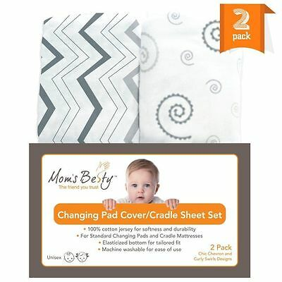 NEW 2 Pack Jersey Cotton Baby Changing Pad Covers Cradle Bassinet Sheets Set