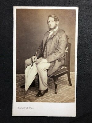 Victorian Carte De Visite CDV Pacault Pau France Col Spencer Umbrella