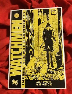 WATCHMEN #1~RARE 2nd PRINT~ALAN MOORE & DAVE GIBBONS~DOOMSDAY CLOCK COMING~NM