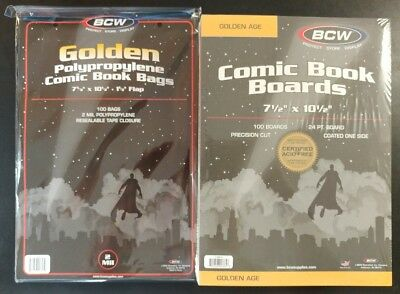 100 BCW, GOLDEN AGE, Comic Book Bags and Boards / Sleeves - NEW, Acid FREE