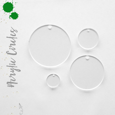 """Clear Acrylic Circle Blank With Hole 1/16"""" Thick- (Pack 25-50-100) Select Size"""