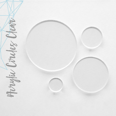 """Clear Acrylic Circle Blank 1/16"""" Thick- (Pack 25-50-100) Select Size"""