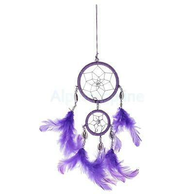 Traditional Purple Dream Catcher with Feathers Wall Car Hanging Ornament Nice