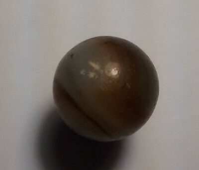 Vintage Glass Marble Opaque Semi Translucent White Brown Swirl band Antique toy