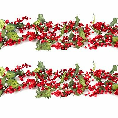 Christmas Garland Hanging Home Decoration - Xmas Holly Berries & Leaves (1.5m)
