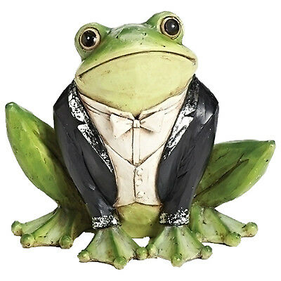 "Tuxedo Frog Animals Garden Statue Outdoor Statuary Patio Yard Art 8.25"" H"