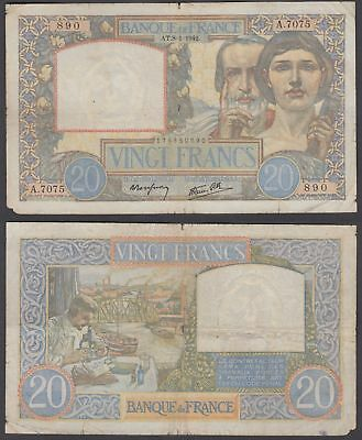 France 20 francs 1942 (VG) Condition Banknote P-92c