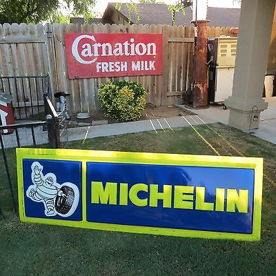 """Vintage Michelin Lighted Tire Sign 72"""" x 24"""" Single Sided Panel ONLY 1990's"""