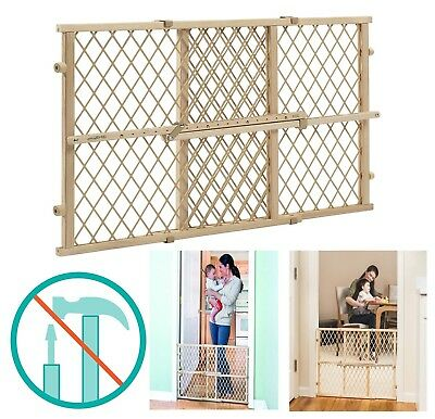 Walk Thru Baby Gate Extra Wide Position & Lock Wood Tall Infant Safety NEW