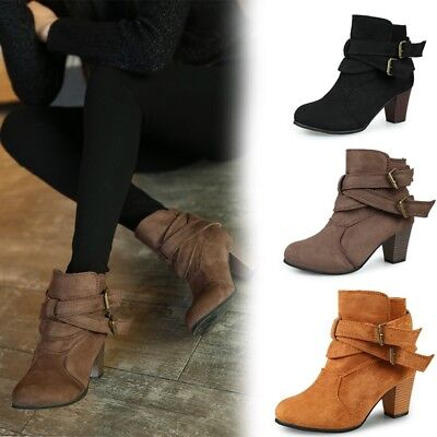 652fd78ad Women's Mid Heel Ankle Boots Chunky Heels Winter Botas Martin Shoes Plus  Size 42