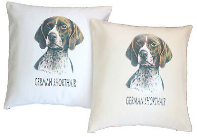 German Shorthaired Pointer H Cotton Cushion Cover - Cream or White - Gift Item