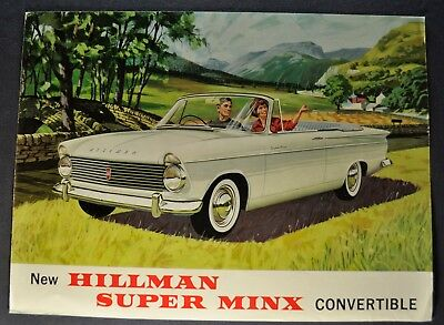 1963 Hillman Super Minx Convertible Sales Brochure Folder Excellent Original 63
