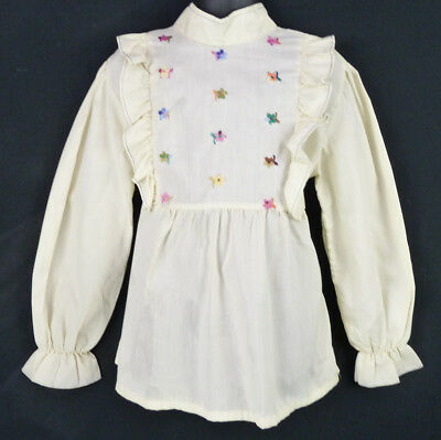 Vintage 70s Ivory Embroidered Ruffle Blouse Girls 10/12 M Tie Back Prairie Top