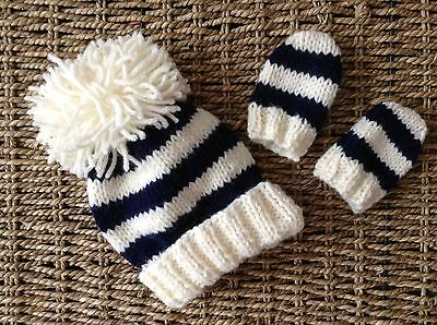 Hand Knitted Baby Aran Cream And Navy Striped Pom Pom Hat And Mitt Set 0/3 Mths