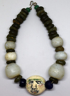 Ancient Venetian Wound Glass Beads & Large Antique Face Porcelain Bead Necklace