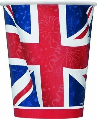 1x Pack Of 8 Best Of British Union Jack Paper Cups.