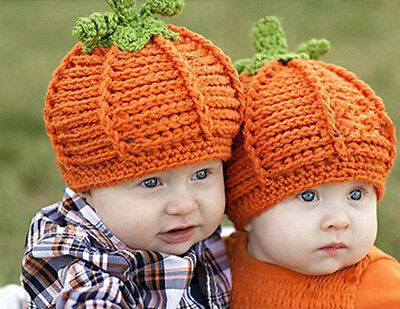 Newborn Baby Boy Girl Crochet Knit Halloween Pumpkin Beanie Hat Photograph Prop