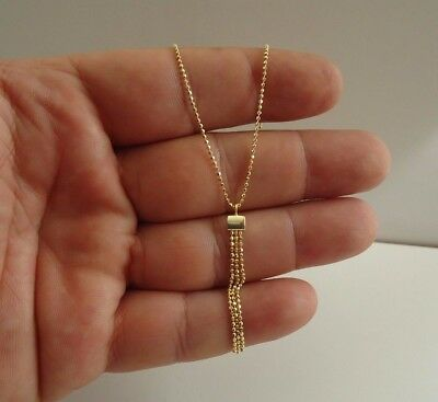 14K Yellow Gold Over 925 Sterling Silver Dangling Trio Bead Pendant   / 20''