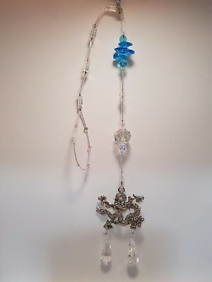 Large Metal Dragon Light Catcher with 2 Crystals & Bead (Post or Local Pickup)
