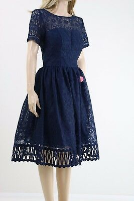 39b1a39dd4168 Chi Chi London Premium Lace Dress with Cutwork Detail and Cap Sleeve UK  10
