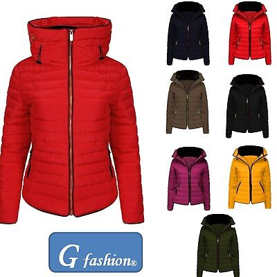 d8c31646a NEW WOMENS QUILTED Puffer Bubble Padded Jacket Fur Collar Gold Zip ...