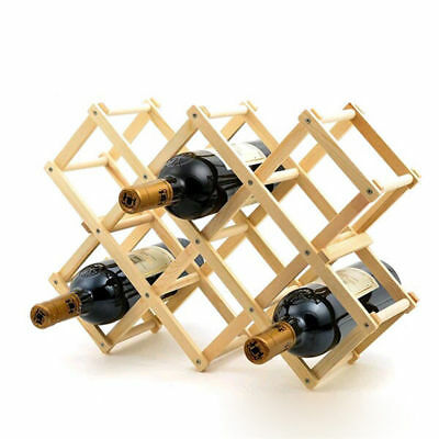 10 Bottle Wine Rack Folding Wooden Red Wine Storage Holder Kitchen Bar Organizer