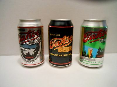 3 BEER CANS TAHOE BEER FAMOUS AS THE LAKE AMBER, BEER, PALE ALE empty bot open