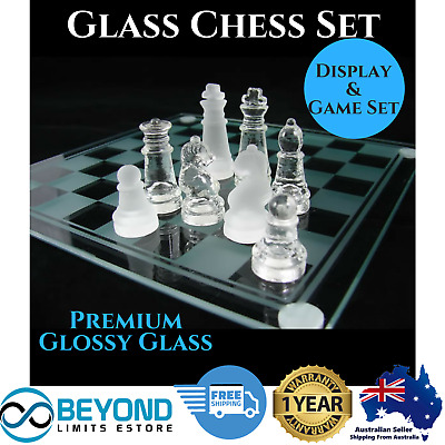 Deluxe Glass Frosted Chess Board Game Set Elegant Display Home Office Decor Toy