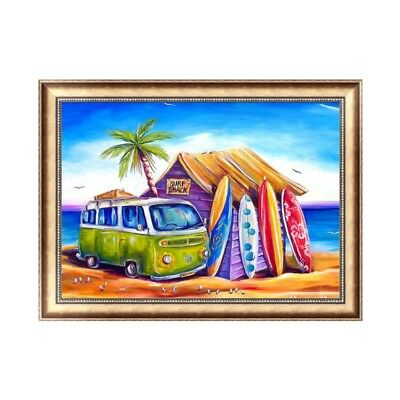 5D Diamond Embroidery Surf Shack Painting Cross Stitch Art Craft Home Decor