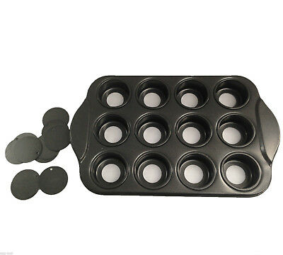 NEW 12cup Non-stick Mini Cheesecake Pan  Loose Base Cheese Cake Mould Pan Tin AU