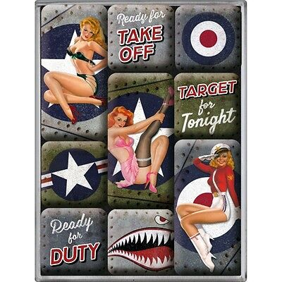 9-teiliges Magnet Set Pin Up Nose Art Retro Style