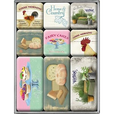 9-teiliges Magnet Set Home & Country Retro Style